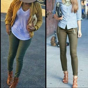 Divided by H&M Olive Green Skinny Pull-On Pants